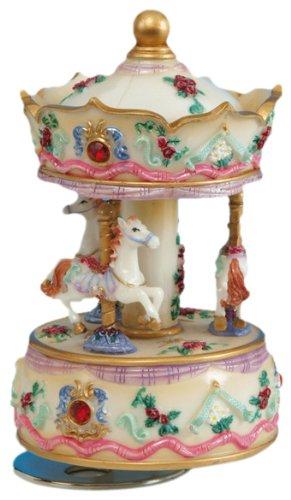 Spieluhrenwelt Music Box World 14141 Boîte à Musique en Forme de carroussel avec Strass Beige/Rouge