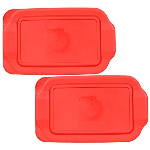 Pyrex 2 Quart 7' x 11' Red Rectangular Plastic Lid 232-PC for Glass Baking Dish (2pks)