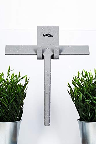 HOMEZONY Duschabzieher (23cm) inkl. Aufhänger – Silikon Abzieher aus langlebigem Material – Abzieher Dusche ohne Bohren