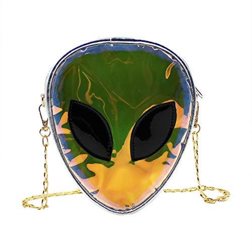 Holografisches Alien-Muster, Umhängetasche, Schultertasche mit Kette, für Kinder, Teenager, Mädchen und Frauen, Silber (Silber) - CCbb-191204110A-01