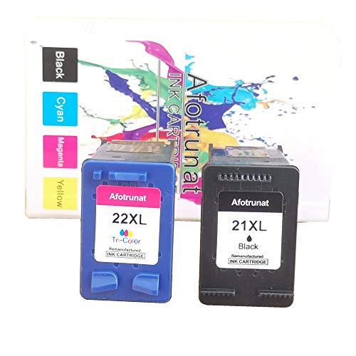 Afotrunat Paquete combinado de cartuchos de tinta HP 21 21XL para HP Deskjet 3910 3920 3930 F2120 F2280 F380 F390 PSC 1401 1402 1403 1406 OfficeJet 4315 5600 561 0 FAX 1 250 3180 (negro, color)