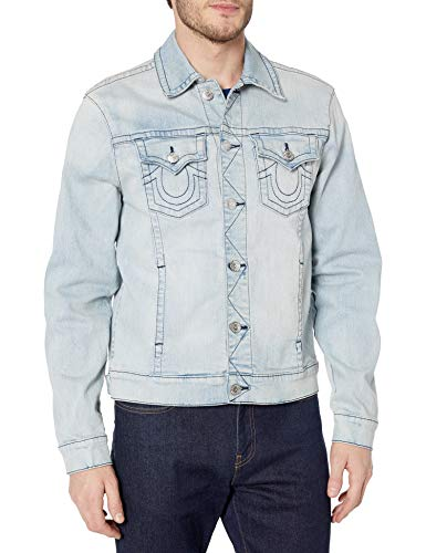 True Religion Men's Denim Long Sleeve Trucker Jacket, Glass Blue, X-Large
