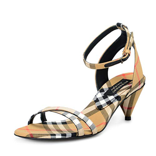 BURBERRY London Women's Hansel Checkered Ankle Strap Heeled Sandals Shoes Sz US 5 IT 35