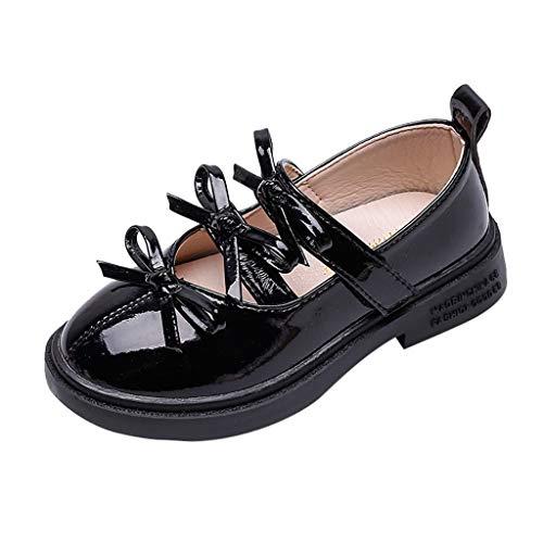 AIni Zapatos De Princesa De Bowknot,Bebé Cuero Princesa Suave Suela Zapatos NiñA Zapatos De NiñA con Bautizo Zapatillas Antideslizante Suave Zapatos De Fiesta De NiñOs Negro Blanco 26-36 EU