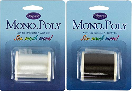 Bundle of Superior Monopoly Transparent/Invisible Thread Spool of Each Clear and Smoke 2200 yds Each Color