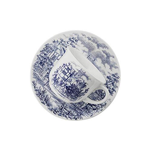 Conjunto com 6 Xícaras de Chá Biona Cena Inglesa Branco/Azul