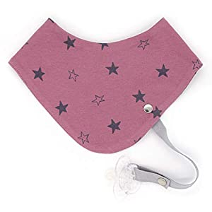 Dreieckstuch mit Schnullerband – Jersey Stars rosa