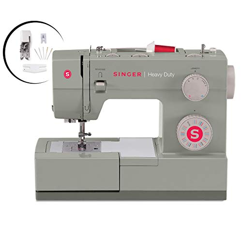 Singer Heavy Duty 4452 Sewing Machine With Accessories, 32 Built-In Stitches, 60% Stronger Motor, Stainless Steel Bedplate, 48% Faster Stitching Speed & Automatic Needle Threader (Renewed)