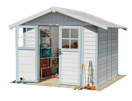 *Grosfillex Deco 4,9 weiß/graublau Gartenhaus*