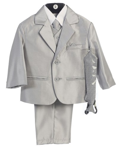 Boy's 2-Button Metallic Suit with Vest and 2 Ties - Silver 7