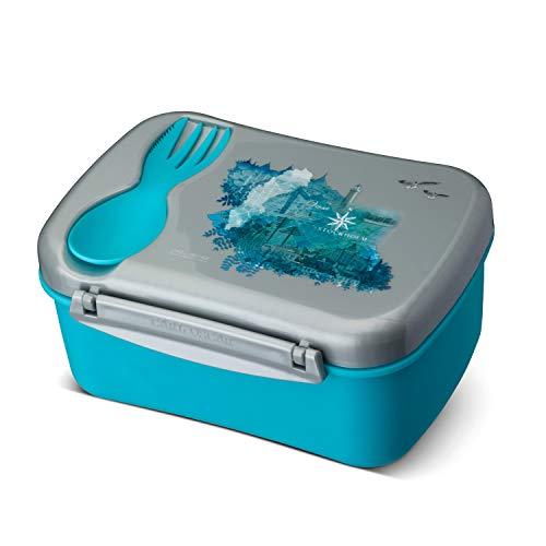 Carl Oscar Schwedische Design Lunch Box - Bento Box Brotzeitdose Lunchbox mit Kühlakku und Besteck hält Mehrere Stunden kühl, 17 x 12,5 x 8 cm türkis