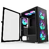 MONTECH X3 Glass Black – ATX Mid-Tower PC Gaming Case – 6 RGB Rainbow Fans – Panel frontal de vidrio templado – Panel lateral de vidrio – Gestión de cables – Carcasa de alto flujo de aire para juegos