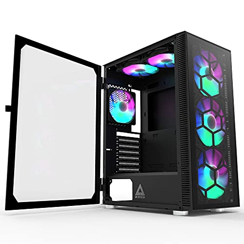 Montech X3 Glass 6pcs, 3 x 140mm& 3 x 120mm Fixed RGB Lighting Fans ATX Mid-Tower PC Gaming Case,...