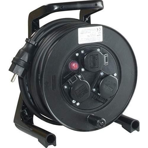 JUMBO® XS Kabeltrommel mit 3 Steckdosen H07RN-F Leitungsfarbe schwarz, Querschnitt 3 x 1,5 mm², Länge 20 m