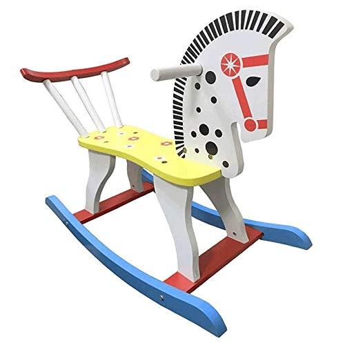 XWX Kreative Massivholzzaun Rocking Horse Holz 1-6 Jahre Alter Stuhl Indoor Toy Kinder Mitfahren Last 50kg 23.6 × 11,8 × 17.5inch