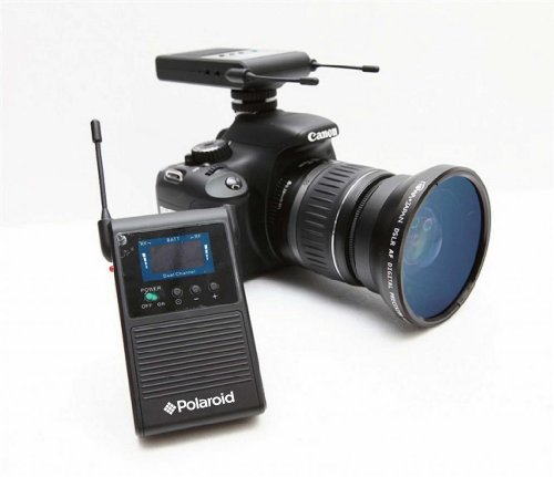 Polaroid Wireless Microphone System with Dual Channel Synchronization for SLR Cameras & Camcorders - Includes Bee Microphone with Clip