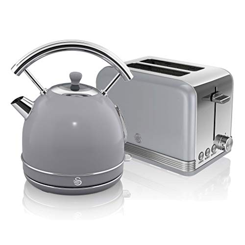 Swan, Retro Kitchen Kettle and Toaster Set, 1.8L Dome Kettle, 2 Slice Toaster, (Grey)