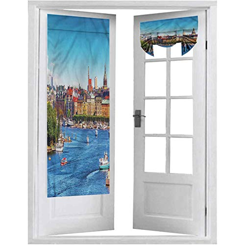 Room Darkening French Door Curtains, Cityscape,Old Town Pier Stockholm, 1 Panel-26' X 68' Rod Pocket Drapes for Living Room Glass Door