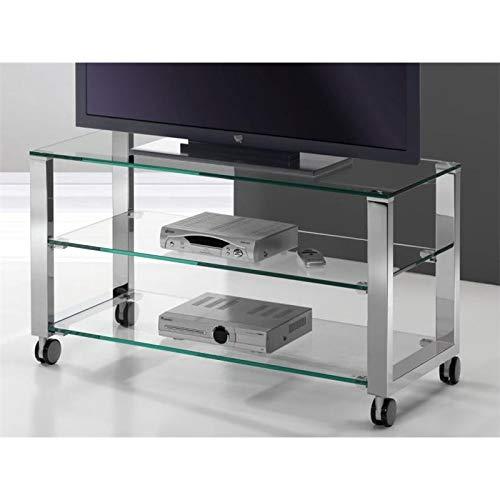 Mesa de Televisión Cristal con Patas cromadas Aremi 95 cm