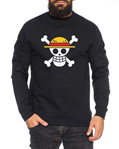 Tee Kiki Logo Pirata Sudadera de Hombre Ruffy One Nami Lysop Piece Portgas D, Farbe2:Negro, Größe2:Large