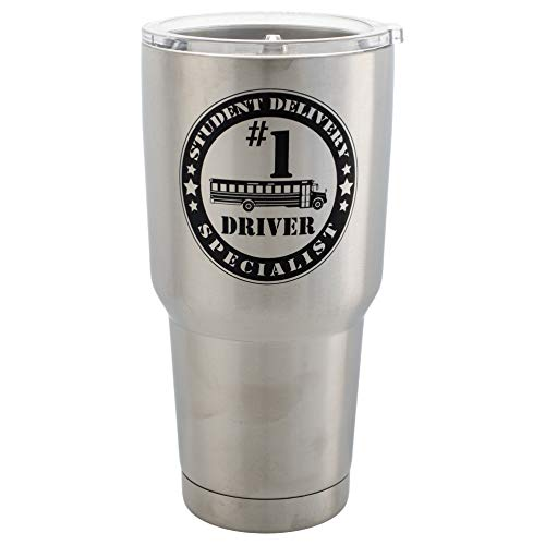 #1 Bus Driver Student Delivery Special 30 Oz Stainless Steel Travel Mug with Lid