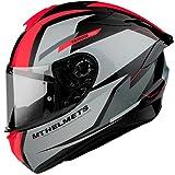Casco Moto Integral homologado MT Targo Pro Modelo Sound A5 Rojo Fluor Brillo Dot Unisex Talla (L)