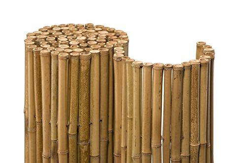 NOOR Bambusmatte Deluxe 0,90 x 2,50m I Natürliche Bambus-Sichtschutzmatte mit durchbohrtem Draht für maximale Stabilität I Terrassen- und Balkonwindschutz