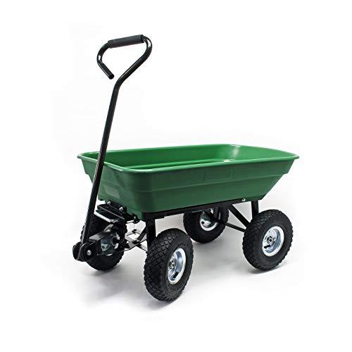 WilTec Carrito jardín basculante, Capacidad 55l, Carga 200kg,...