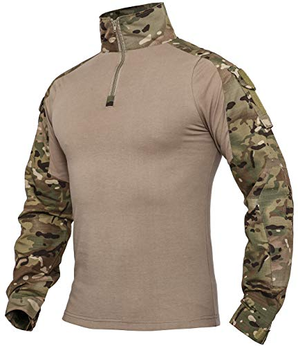 XKTTAC Herren Taktisches Hemd Outdoor Shirt Kampfshirt für Militär und Airsoft (CP, L)