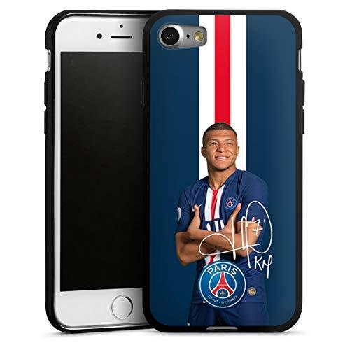 DeinDesign Silikon Hülle kompatibel mit Apple iPhone 7 Case schwarz Handyhülle Mbappe PSG Fußballspieler