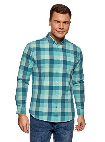 oodji Ultra Hombre Camisa a Cuadros de Algodón, Verde, 58-60