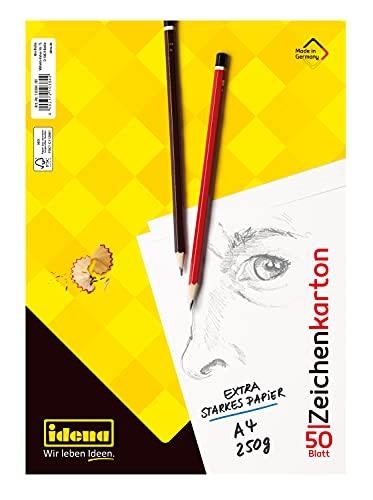 Idena 10384 - Zeichenkarton, DIN A4, 50 lose Bogen, 250 g/m², 1 Stück