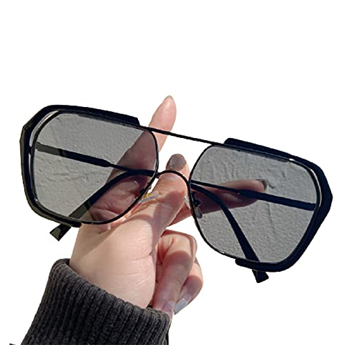 Dunmo Gafas de sol de gran tamaño de moda con protección UV gafas de sol marco de metal para hombres y mujeres