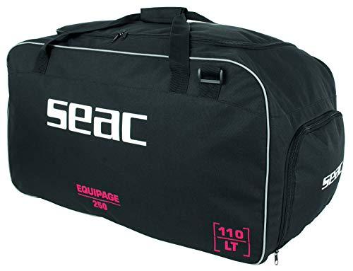 SEAC Equipage 250, Borsone da Sub con Vano Impermeabile per Attrezzatura Subacquea e Tasca Porta Pinne Unisex Adulto, Nero, 75 x 40 x 35 cm