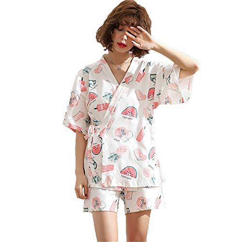 Pijamas De Algodón con Estampado Clásico para Mujeres -