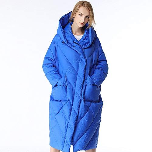 FYMDHB886 Women's Winter New Daunenjacke Mit Kapuze Ladies Loose Large Size Cocoon Type Dicker Mantel Über Dem Knie Lange Daunenjacke