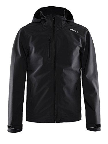 Craft Leichte Softshell-Jacke für Herren, 3-lagig, mit abnehmbarer Kapuze, Schwarz, Größe S