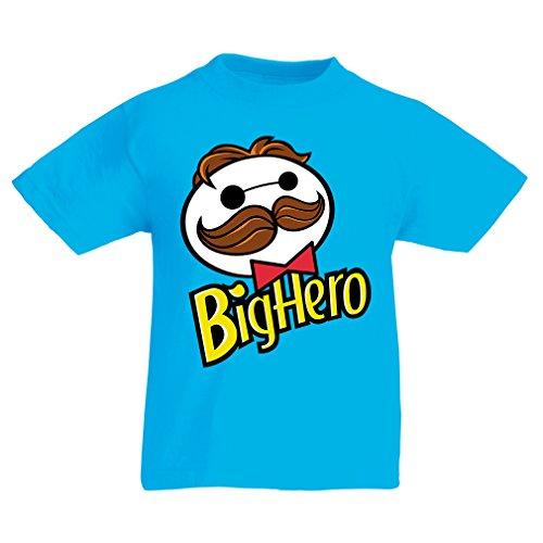N4423K La Camiseta de los niños Big Hero (7-8 Years Azul Claro Multicolor)