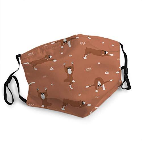 Wiederverwendbare Anti-Staub-Gesichtsschutz Bandana Kopfbedeckung Schal Mund Scraf Yoga Hunde Posen und Übungen Boxer Hund