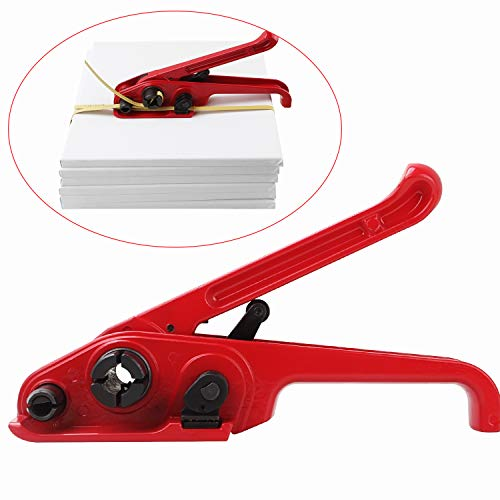 """Packaging Poly Strapping Tensioner, Heavy Duty Strapping Tensioner & Cutter, Handy Strapping Kit for 1/2"""" or 3/4"""" Strap, Manual Banding Tools for Storage and Shipping in Garage, Jobsite, Warehouse"""