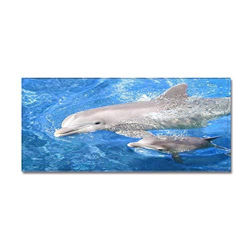 Antislip design, wasbaar, voor keuken, badkamer, mooi tapijt met 3D-print, Dolphin water, 7 mm dik 60 * 180CM