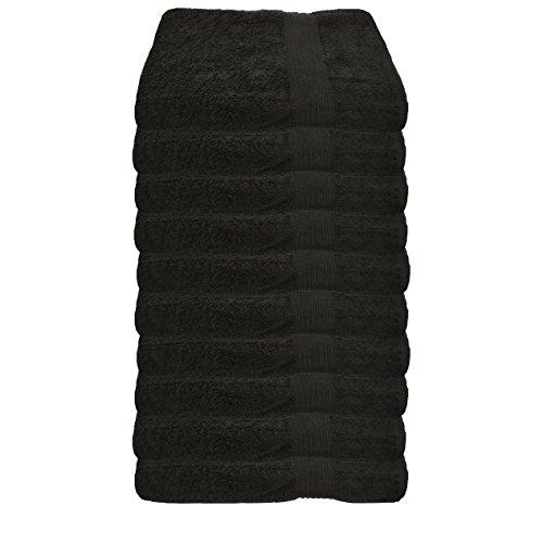 Julie Julsen Lot de 10 serviettes d'invité sans produits chimiques - 600 g/m² - Noir - 30 x 50 cm - 100 % coton - Certifié Öko-Tex Std 100 - Doux et absorbant - Lavable en machine
