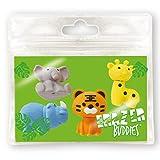 Erazer Buddiez - Animal Salvaje de Deluxebase. Gomas de borrar con forma de animal salvaje para niños y niñas. Colorido set de borradores de lápiz, ideal para útiles escolares y artículos de oficina