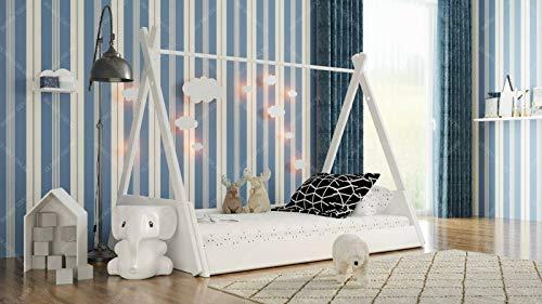 Holzti - Cama de casa de Madera de Pino, Tienda Tipi India, diversión Creativa - quedarse Dormido Solo, Cama de Madera en Estilo escandinavo (60 x 120 cm)