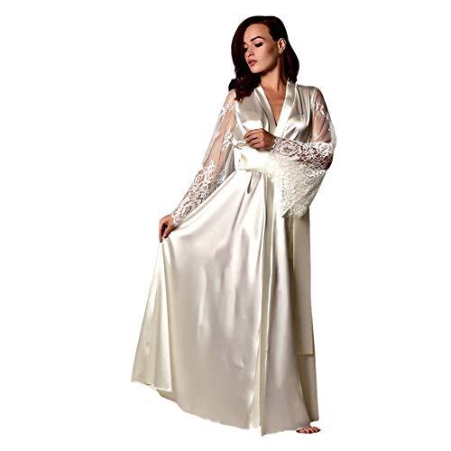 Dorical Damen Lange Seide Kimono Morgenmantel Babydoll Dessous Bath Robe Versuchung Bar Party Unterwäsche Nachthemd Babydoll G-String(Weiß,Medium)