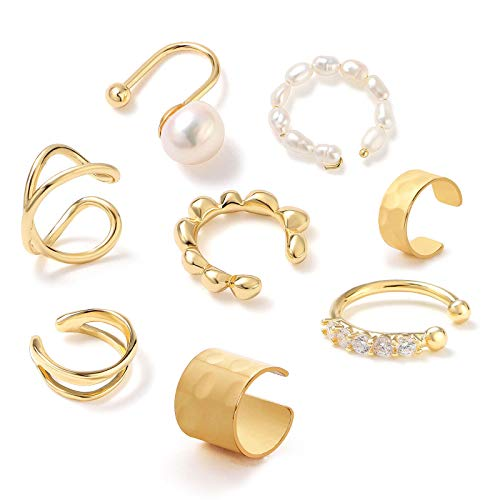8Pcs Ear Cuffs for Non-Pierced Ears Gold Ear Cuff Earrings for Women Cartilage Hoop Clip On Hypoallergenic Huggie Earrings Fake Nose Ring Jewelry Gifts