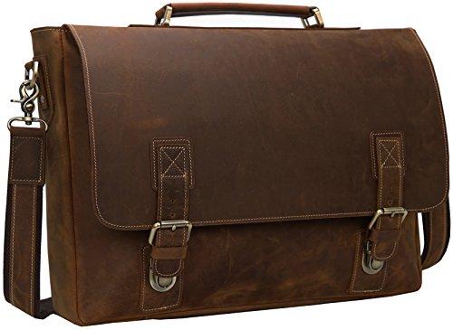 """Iswee Crazy Horse Leather Mens Messenger Bag Leather Briefcase Vintage Briefcase Fit 16"""" or 17"""" Laptop Satchel Shoulder Bag for Traveling (Medium Dark Brown)"""