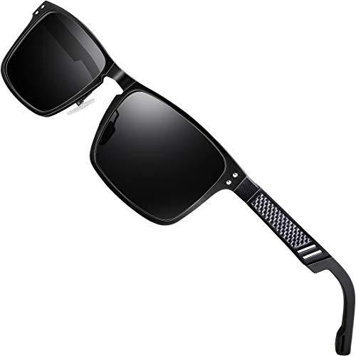 ATTCL Polarisierte Fahren Sonnenbrille Herren Al-Mg Metall Rahme Ultra Leicht 6500 Black