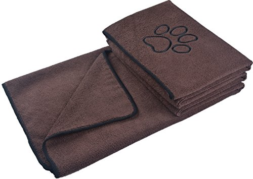 KinHwa Toalla de Mascota de Microfibra con Estampado de Pata Bordada de 76 cm x 127 cm marrón