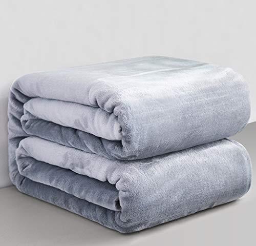 Mantas para Sofa Gris Claro 150 × 200 cm, RATEL Mantas para Cama de Franela Reversible, Mantas Ligeras de 100% Microfibra - Fácil De Limpiar - Extra Suave Cálido